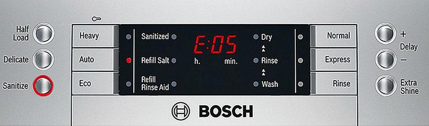 Bosch dishwasher error fault code