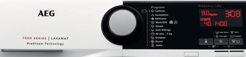 AEG washing machine display