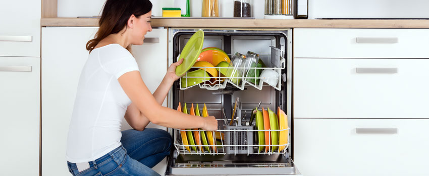 Unwashed dishes in a dishwasher