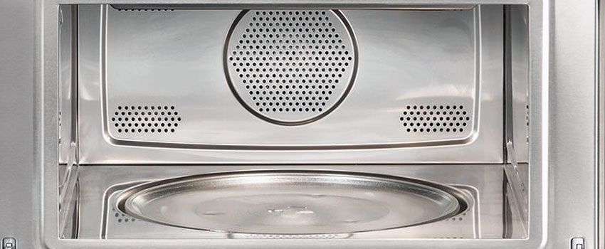 sparkling clean inside of a microwave oven