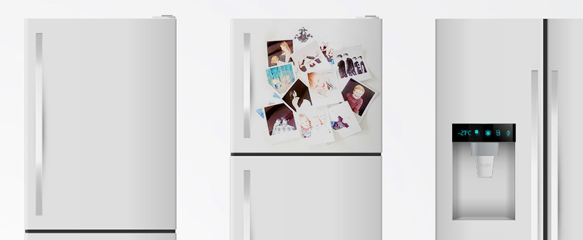 Polaroid decoration on fridge