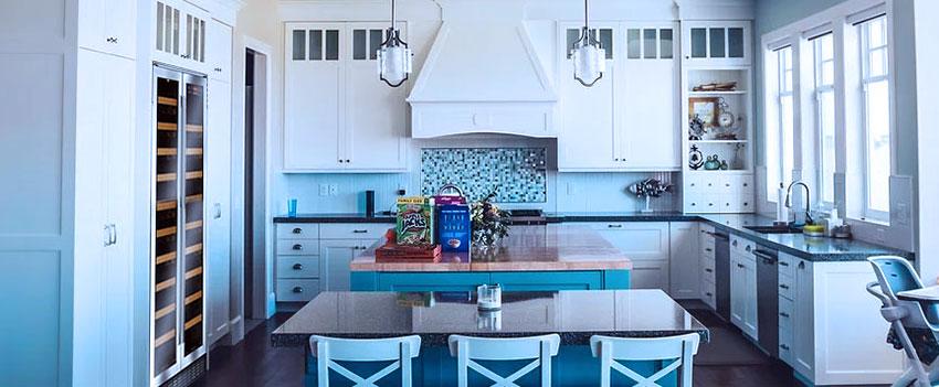 wine fridge in an open-plan kitchen