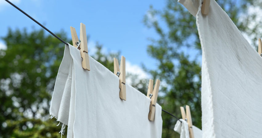 drying clothes outside