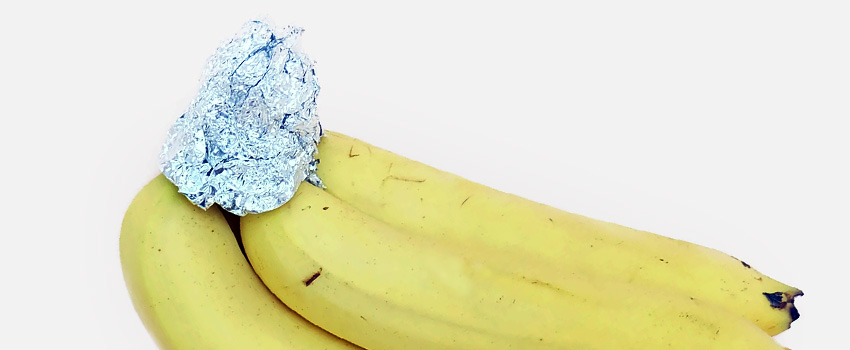 wrap the stems of the bananas